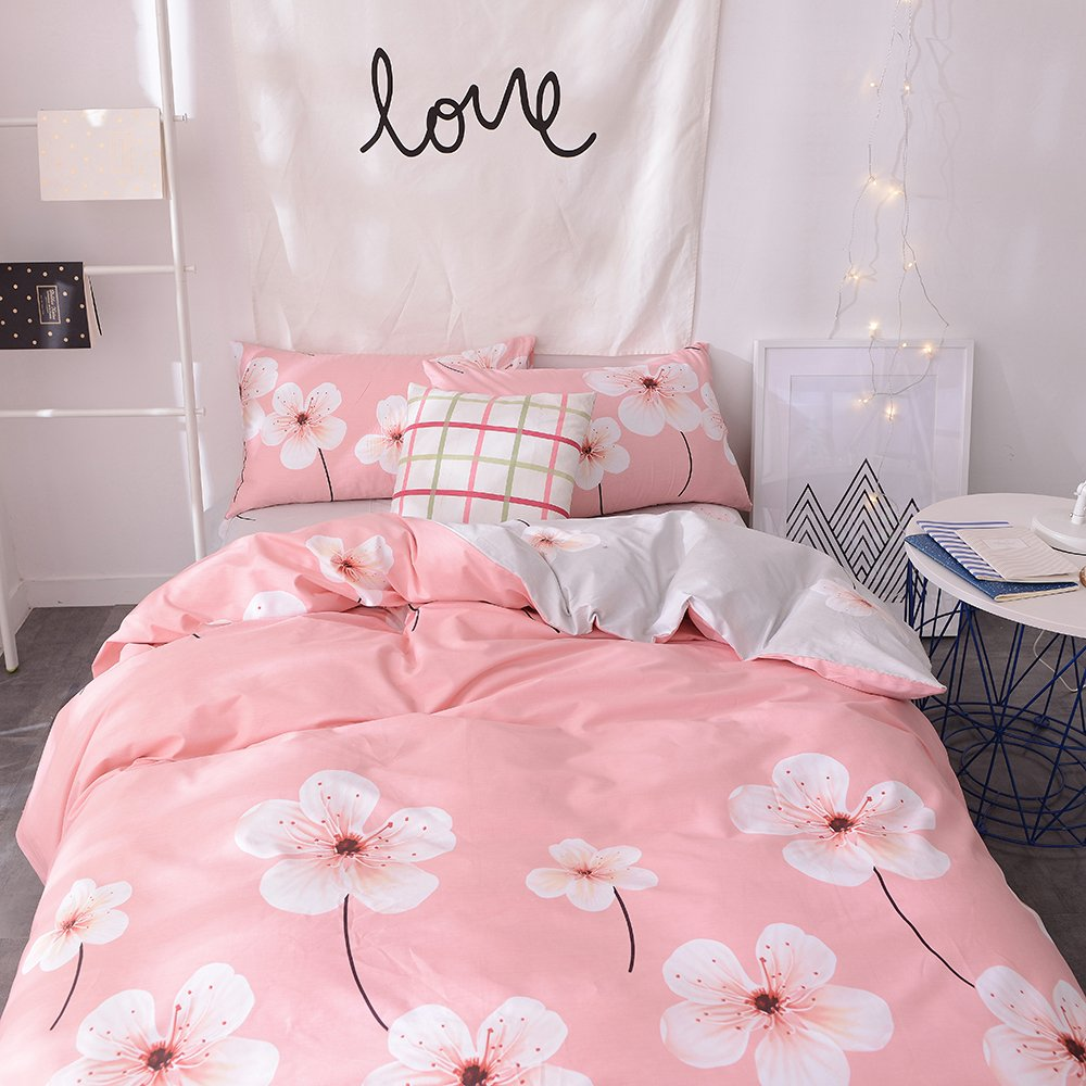 No Comforter Girls Cotton Bedding Sets Twin 3 Piece Reversible Comforter Cover Twin Pink Pineapple Pattern Quilt Cover Sets Twin with 2 Pillow Shams for Kids Women EnjoyBridal Duvet Covers