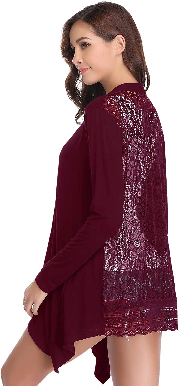 Abollria Cardigan Donna Elegante a Manica Lunga Cardigan Casuale a Maglia Senza Chiusura Semitrasparente per Primavera Estate Autunno