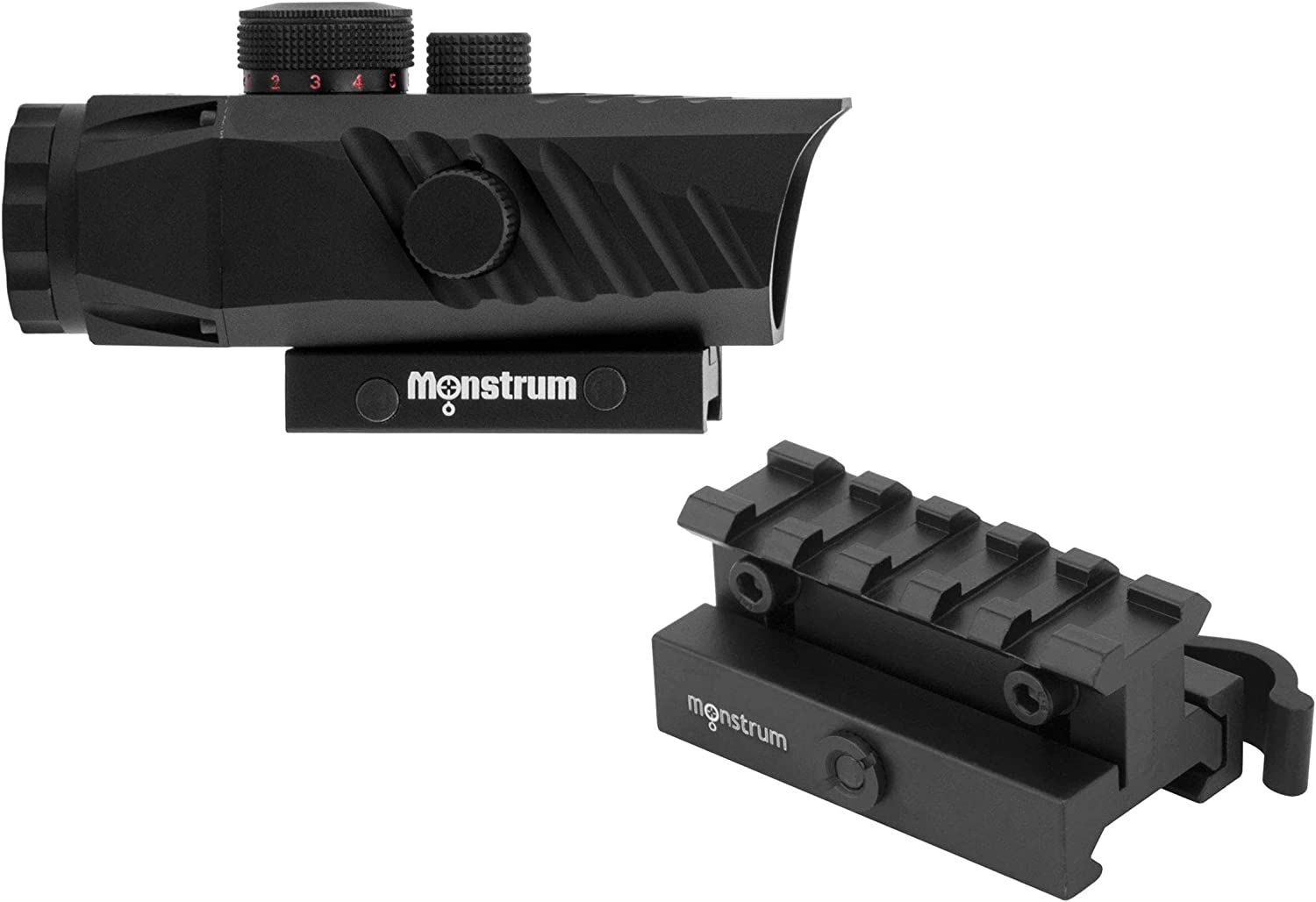 Monstrum P330 Marksman 3X Prism Scope | RM5-AH Adjustable Height Riser Mount with Quick Release | Bundle