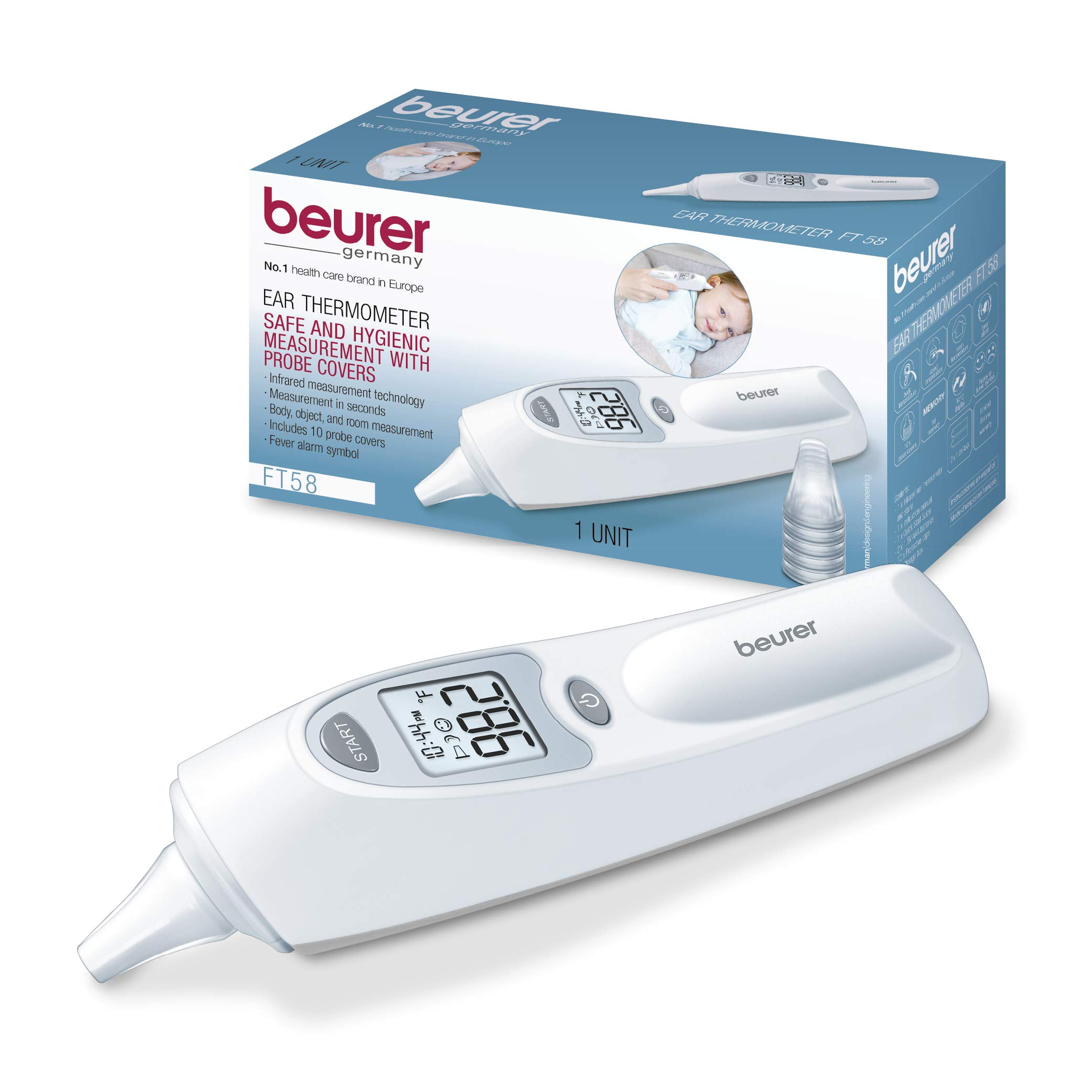 Beurer Digital Ear Thermometer - Measures Body, Room and Object Thermometer for Babies, Toddlers and Adults, FT58