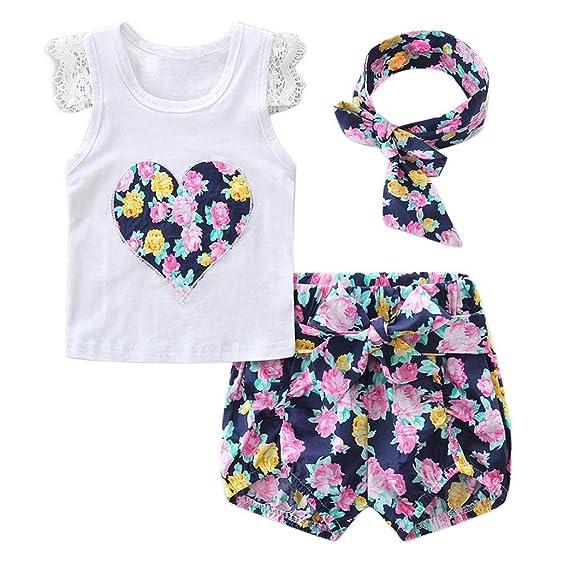 Vestidos Bebé,Switchali Recién nacido Bebé Niña flor Encaje Tops Camiseta+Pantalones cortos+Venda Conjunto moda linda ropa para Niñas mono