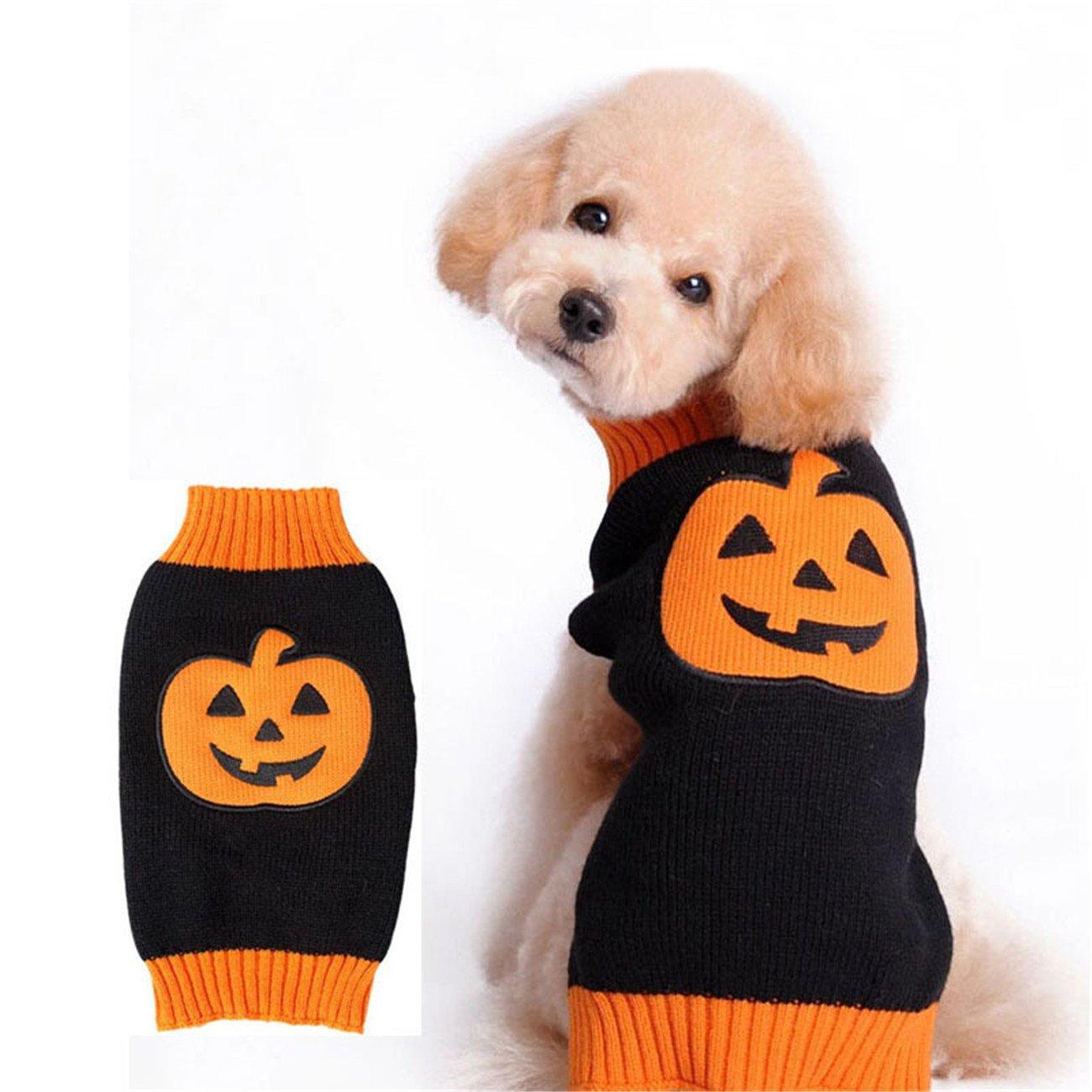 THEE Costume de Citrouille pour Chien ou Chat Vêtements pour Animaux Domestiques Déguisement de Fête Halloween