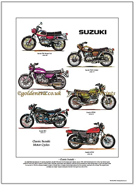 SUZUKI Fine Art Print - Classic 60/70/80s Motorcycles: Amazon co uk