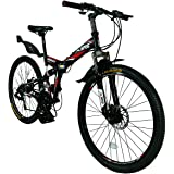 "Xspec 26"" 21 Speed Folding Mountain Bike Bicycle Trail Commuter Shimano, Black/White/Yellow"