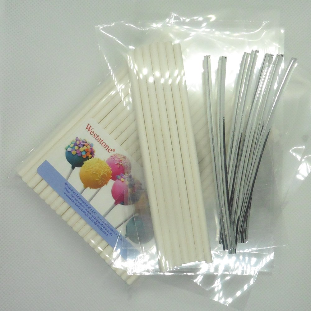 100pcs (4 1/2 Lollipop Sticks + Poly Bags + Twist Ties) for Cake Pops