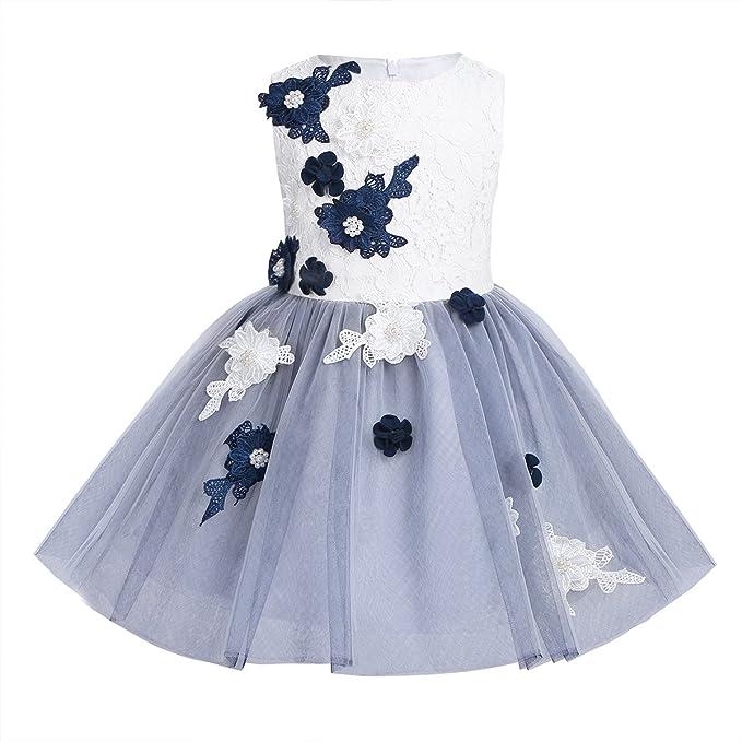 iEFiEL Vestido Blanca de Princesa Boda Fiesta Bautizo para Niña (4-12 Años)