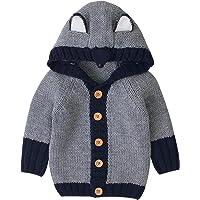 OUlike Unisex bebé Cardigan suéter manga larga dibujos animados Fox grueso calentador con capucha polar abrigo caliente…