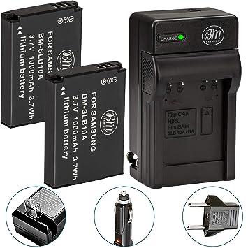 Amazon.com: Pack de 2 baterías SLB-10 A Y Cargador De ...