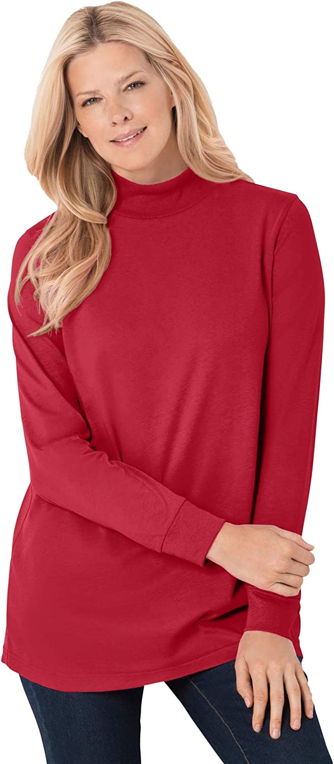 Woman Within Women's Plus Size Petite Perfect Long-Sleeve Mock-Neck Tee Shirt
