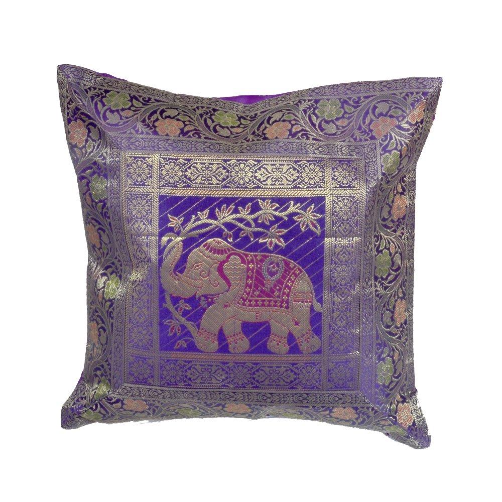 Indian Brocade Elephantステッチハンドメイド枕カバークッションDesigner Tossカバーs-792 B075KBN5JS