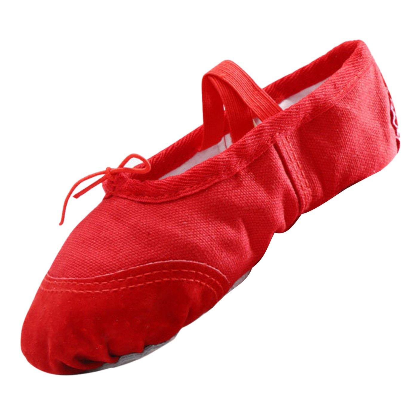 Panegy - Niñas Bailarinas de Tutú Ballet para Práctica de Ballet Suela Antideslizante Media Punta de Piel - EU 26 Rojo