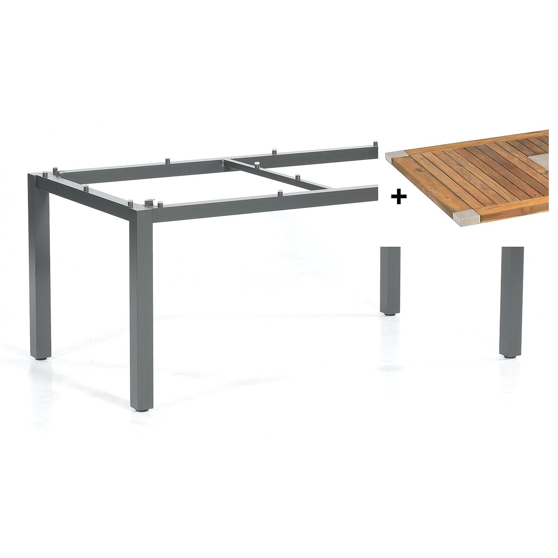 Sonnenpartner Tisch Base Gestell Alu anthrazit Platte Edelstahl OldTeak 160x90