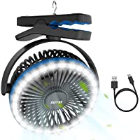 OUTXE Camping Fan with Night Lights 6700mAh USB Rechargeable Tent Fan Portable USB Camping Fan Persona Fan Blue