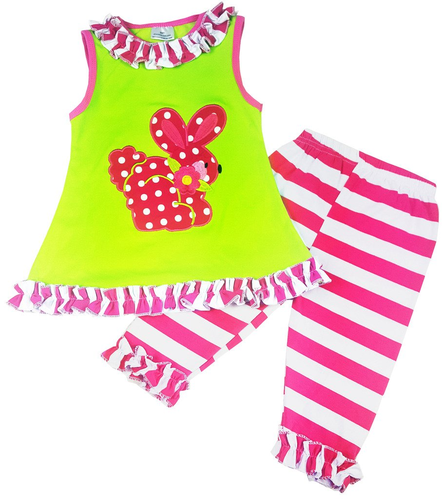 Boutique Clothing Girls Easter Bunny Ruffle Capri Legging Set Fuchsia Green 4T