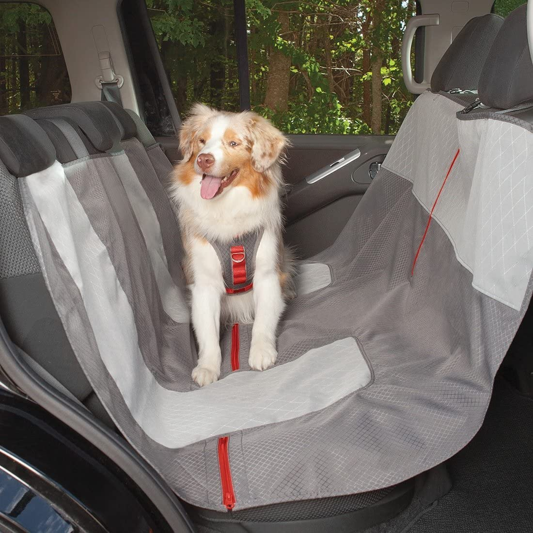 Kurgo Autositzbezug Für Hunde Haustierbank Autositzbezüge Hängematten Stil Wasserabweisend Kratzfest Autos 140 Cm Grau Chili Rot Haustier
