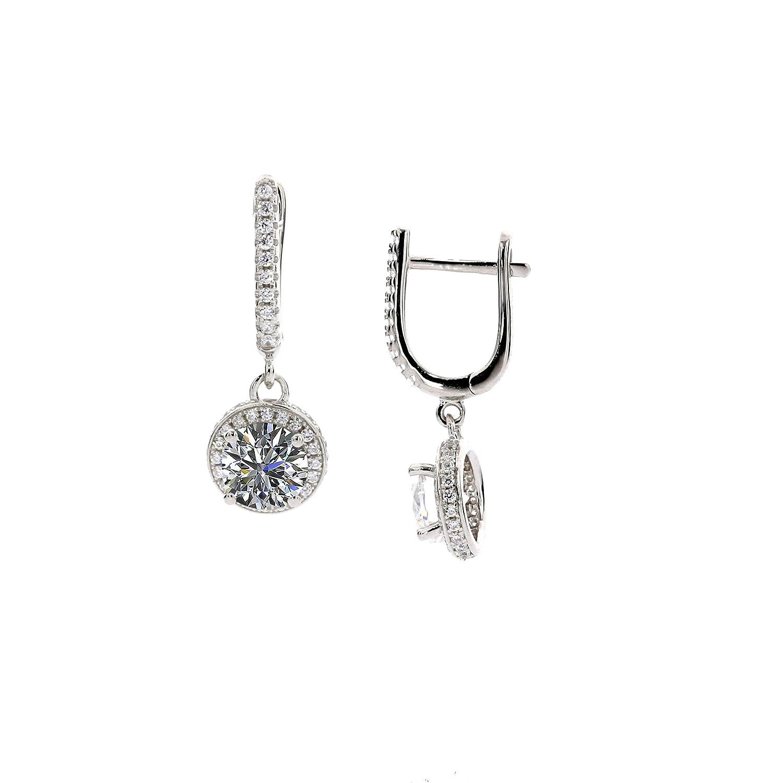 NANA Dangle Halo Earrings Sterling Silver & Swarovski CZ Platinum Plated
