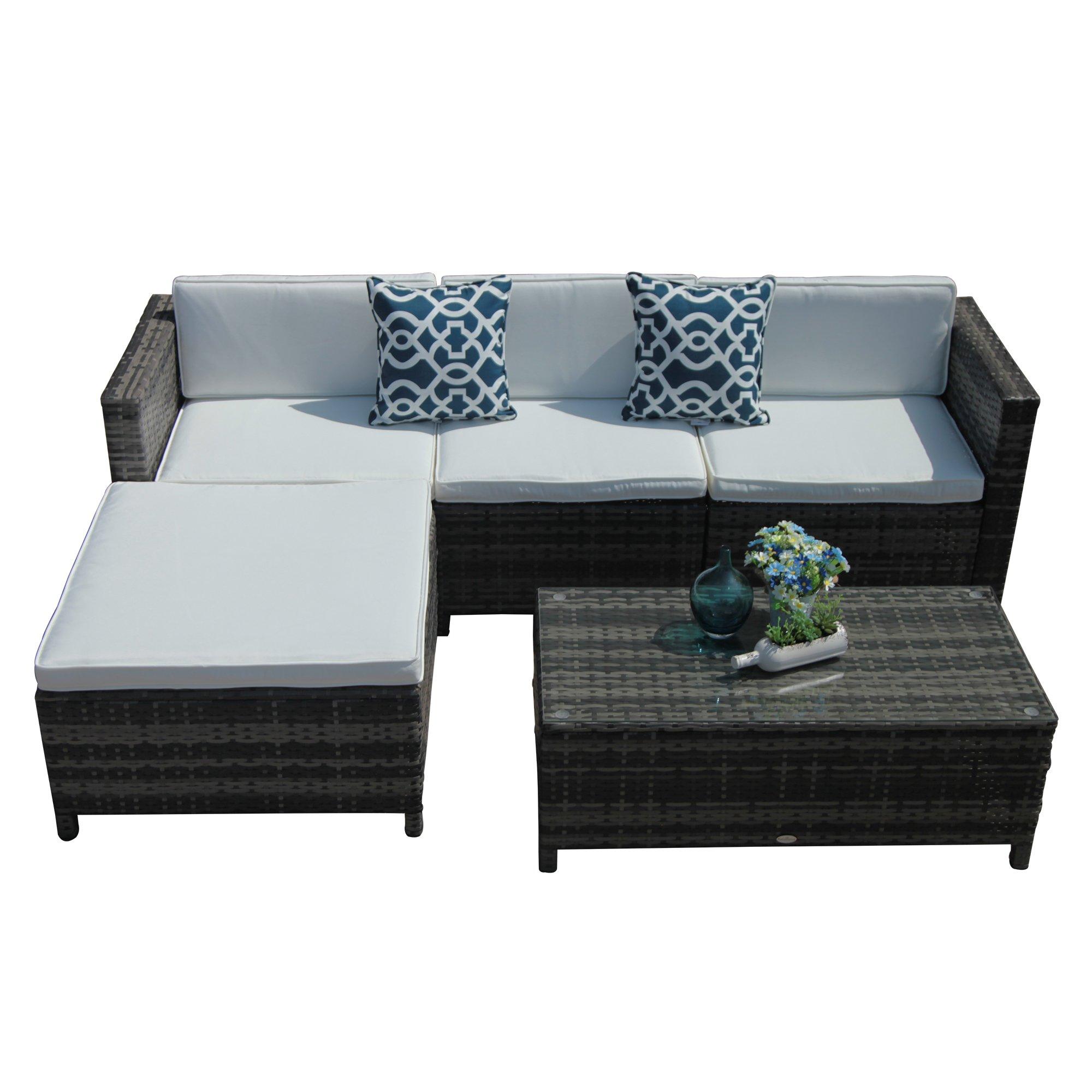 Patiorama 5 Piece Patio Furniture Set, All Weather Grey PE ... on 5 Piece Sectional Patio Set id=79512