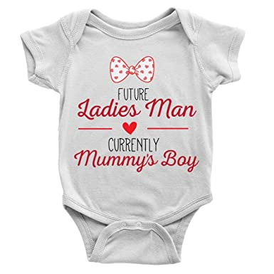 Future Ladies Man Babygrow Funny Cute Bow Tie Mummy/'s Boy Hearts Gift Present