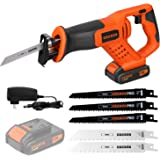 Reciprocating Saws, EREBUS 20V Cordless Li-ion Reciprocating Saw with Fast Charger, Tool-free Blade Change and Variable…