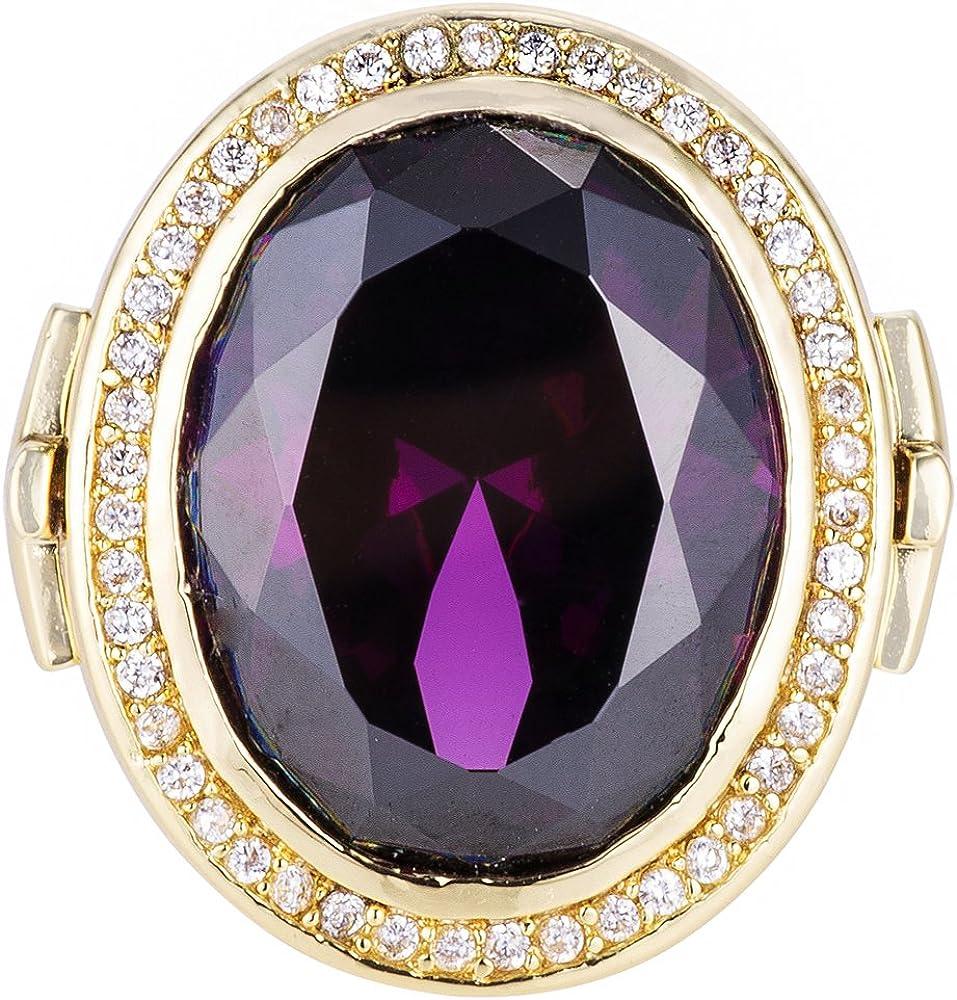 HKN1682 Designs Purple Amethyst Cubic Zirconia 14k Gold Plated Bishop Cross Ring
