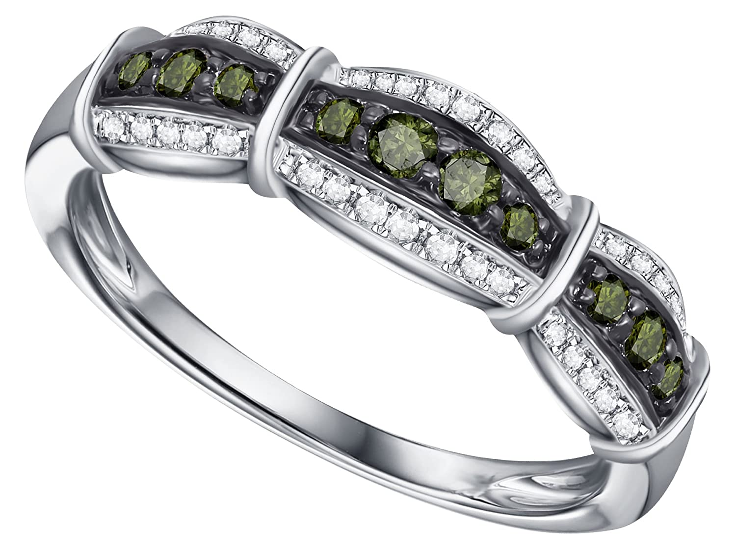 Prism Jewel 0.30Ct Round Green Diamond With Diamond Anniversary Ring