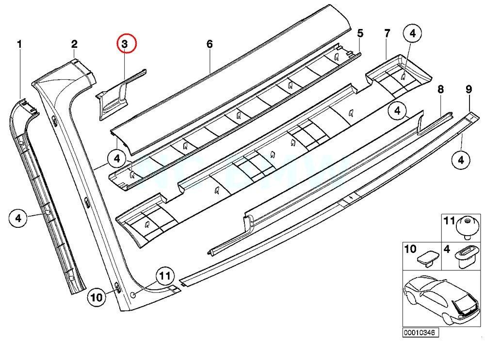 Amazon Com Bmw Genuine Left Water Channel Cover Automotive