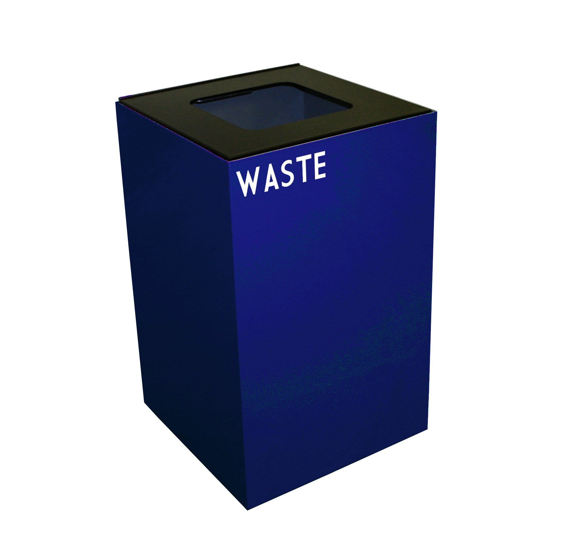 Witt Industries 24GC03-BL GeoCube Recycling Receptacle with Waste Opening, Steel, 24 gal, Blue