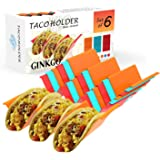GINKGO Taco Holder Stand Set of 6- Premium Large Taco Truck Tray Style Rack with Handles Holds Up to 3 Tacos Each, PP…
