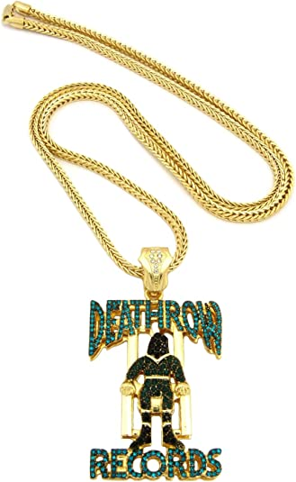 Iced Out Death Row Records Pendant 91 4cm Franco Chain Hip Hop Necklace Blue Gold Tone Xp864gbl Amazon Co Uk Jewellery