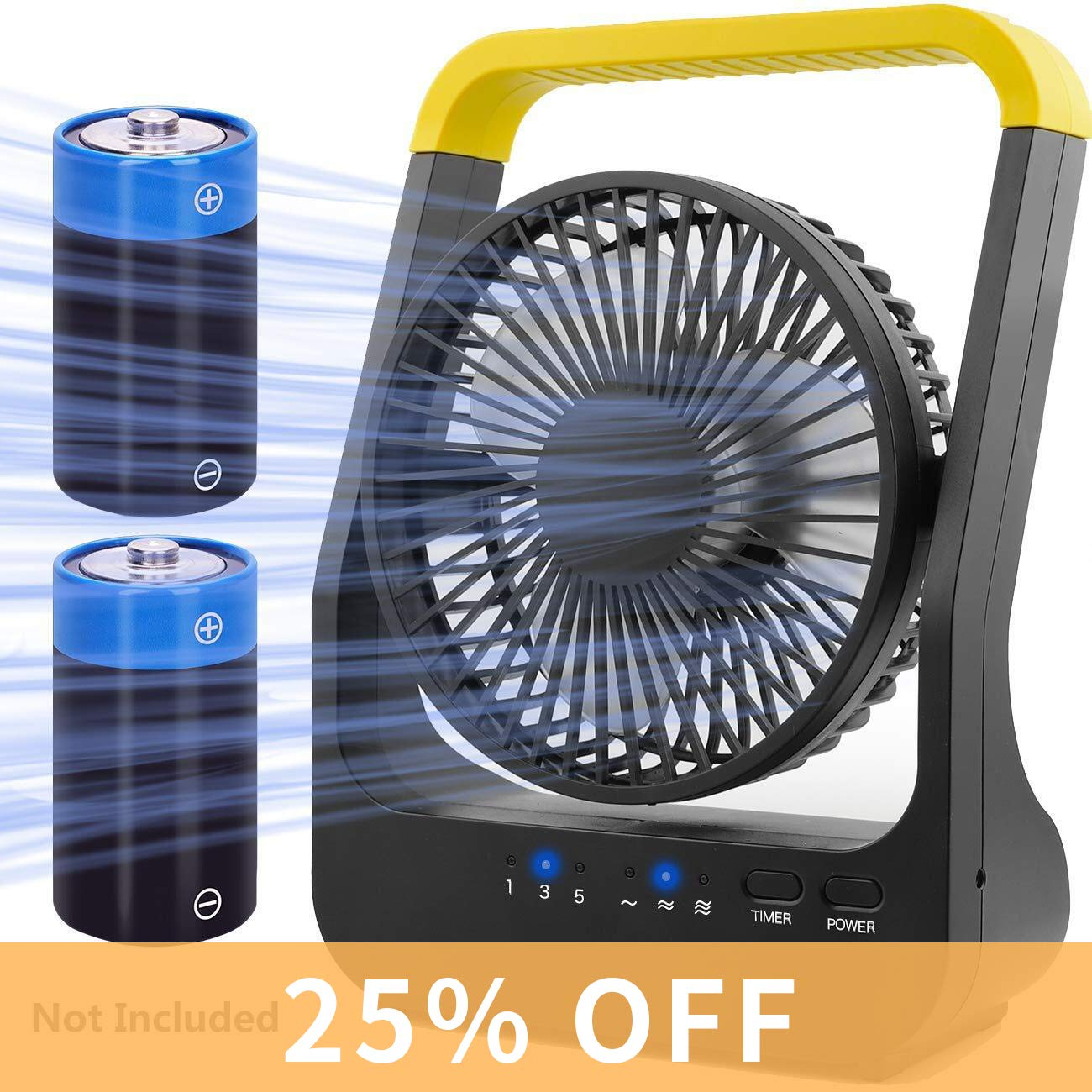 Battery Operated Fan, Super Long Lasting Battery Operated Fans for Camping, Portable D-Cell Battery Powered Desk Fan with Timer, 3 Speeds, Whisper Quiet, 180 Rotation, for Office,Bedroom,Outdoor, 5