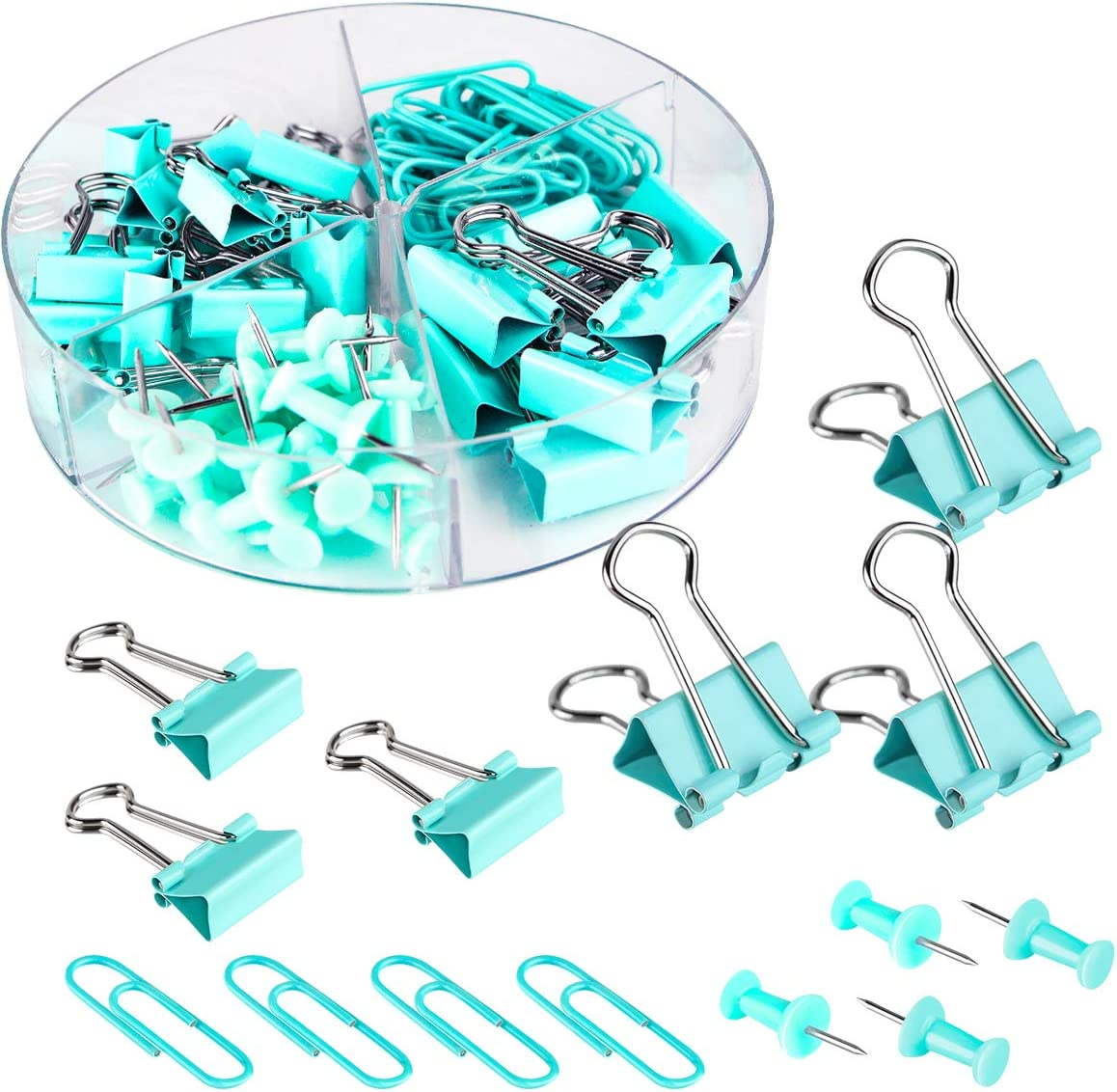 Push Pins Binder Clips Paperclips Sets for Office, School and Home Supplies, Desk Organized, 72 Pcs Assorted Sizes (Blue)