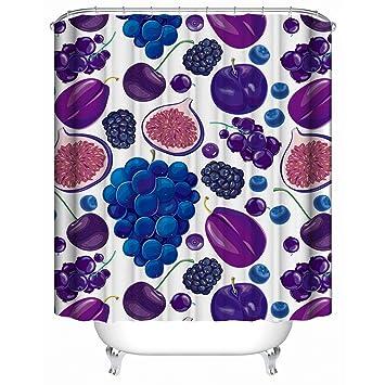 Rideau de douche personnalisé,Thème de fruits de dessin animé Purple ...