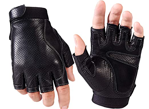Men/'s Genuine Leather Gloves Fingerless Motorcycle Cycling Outdoor Driving