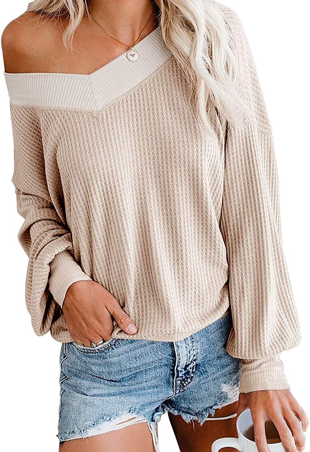 Women/'s Cold Shoulder Sweater S//M//L One Size