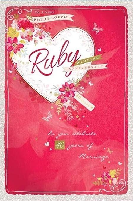 Biglietti Anniversario Matrimonio 40 Anni.Biglietto Di Auguri Per Nozze Di Rubino 15 X 23 Cm Biglietto Di