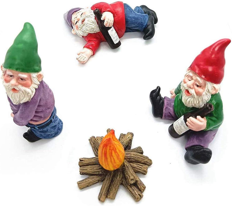 4pcs Fairy Garden Accessories Decorations, Miniature Gardening Gnomes Figurines, Mini Resin Drunk Gnome Kit, Micro Landscape Dwarfs Statue Ornaments for Bonsai Plant Flower Pots Decor