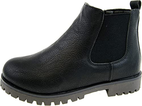 KIDS LEATHER CHELSEA BOYS DEALER ANKLE BOOTS PULL ON CHILDRENS SCHOOL SHOES SIZE