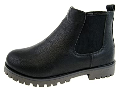 00751eaea6dc31 NEW BOYS BLACK SCHOOL FAUX LEATHER CHELSEA DEALER ANKLE BOOTS SHOES PULL ON  SIZE UK 8 JUNIOR - 5 ADULT  Amazon.co.uk  Shoes   Bags