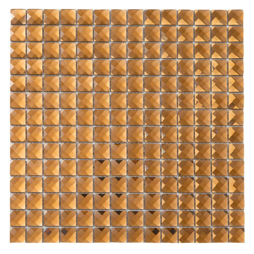Diflart Mirror Glass Mosaic Tile Crystal Diamond Mosaic Tile 3/4 inch Pack of 5 (Brown)