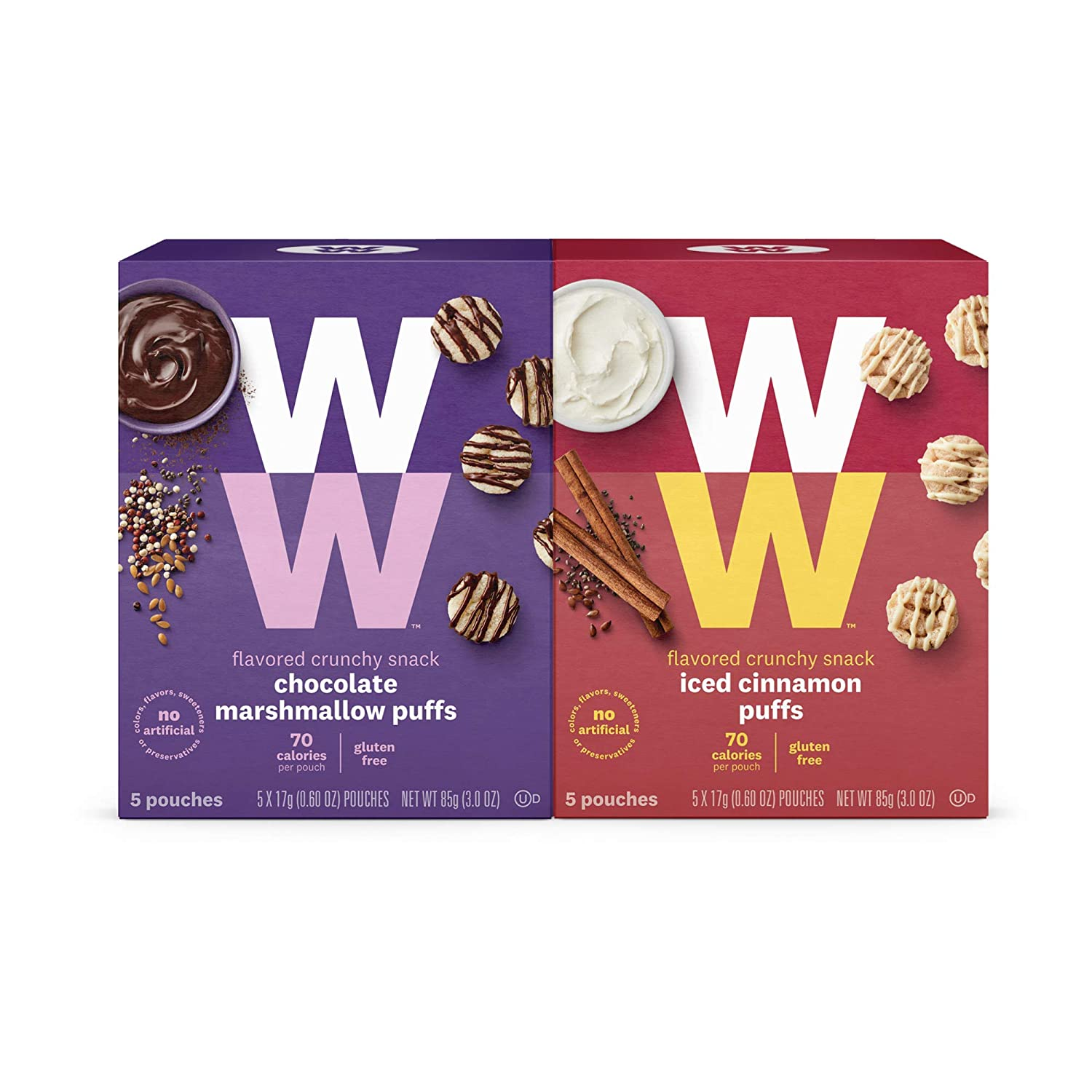 WW Sweet Variety Pack, Iced Cinnamon & Chocolate Marshmallow Puffs, 2 SmartPoints, 5 of Each Flavor (10 Count Total) - Weight Watchers Reimagined