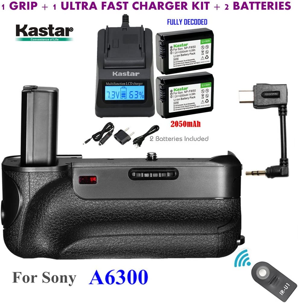 Kastar Infrared Remote Control Pro Vertical Battery Grip + 2 x NP-FW50 Replacement Batteries Built-in 2.4G Wireless Control Ultra Fast Charger Kit for Sony ILCE-A6300 // A6300 Digital SLR Camera