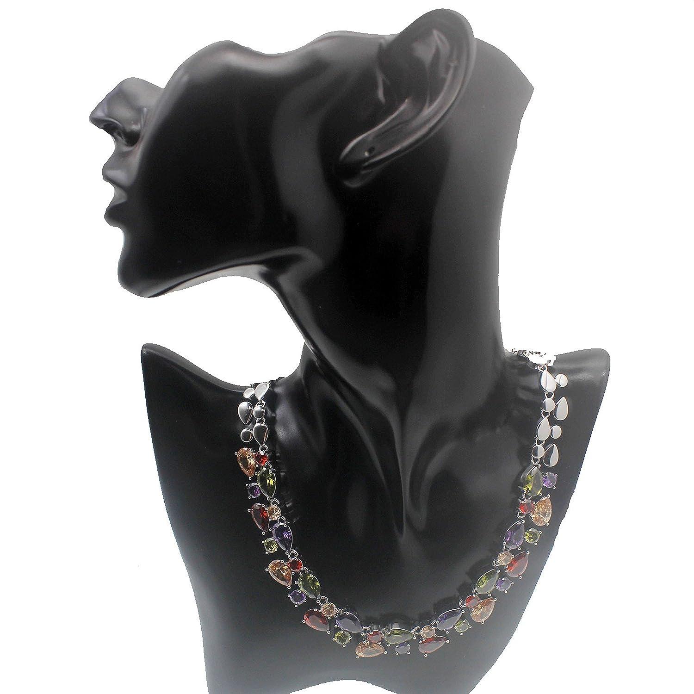 Amatista Granate Morganita Peridot Multi Piedras Preciosas S925 Regalos para ni?as Mujeres JINTOP Conjunto de Joyas