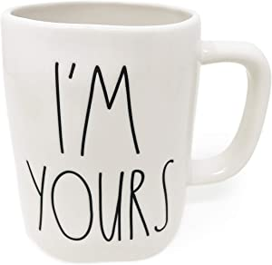 Rae Dunn By Magenta Double Sided Heart & Arrow Outline I'M YOURS Ceramic LL Coffee Tea Mug 2020 Limited Edition