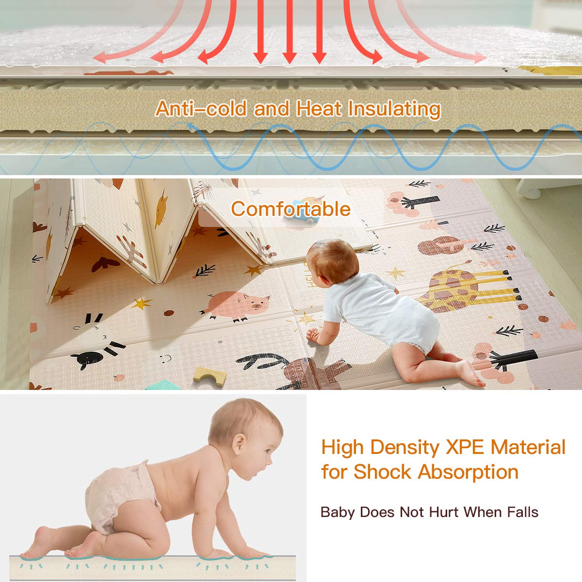 77x70x0.6 inch Toddlers Indoor or Outdoor Use Kids Baby Play Mat Anti-Slip Folding Puzzle Mat Playmat for Infants Extra Large Baby Crawling Mat Portable Waterproof Non Toxic Soft Foam
