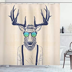 "Ambesonne Antlers Shower Curtain, Illustration of Deer Dressed up Like Cool Hipster Fashion Creative Fun Animal, Cloth Fabric Bathroom Decor Set with Hooks, 75"" Long, Beige Black"