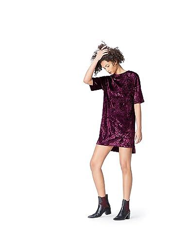 FIND Vestito Modello T-shirt in Velluto Donna