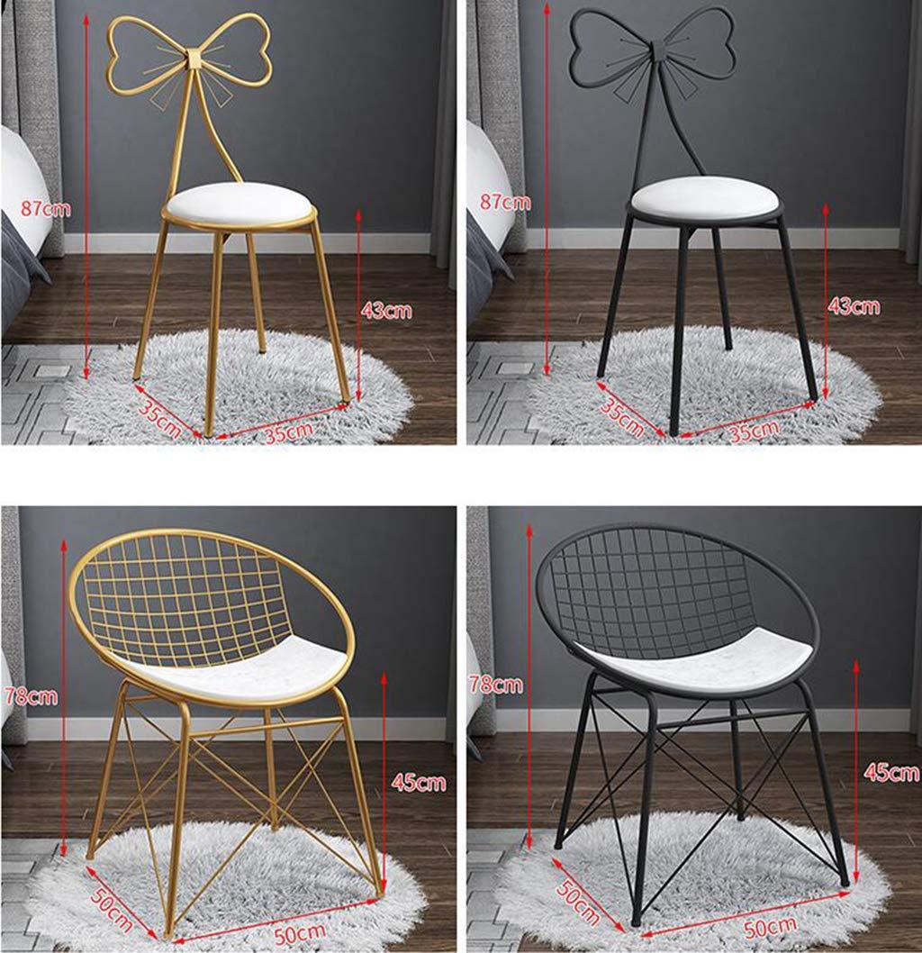 JHSLXD sminkbord sminkstol, kreativ fjäril slips ryggstöd stol sovrum PU läder/flanell dekoration fritid lässtol svart smidesjärn matstol möbler, vit Rosa Pu