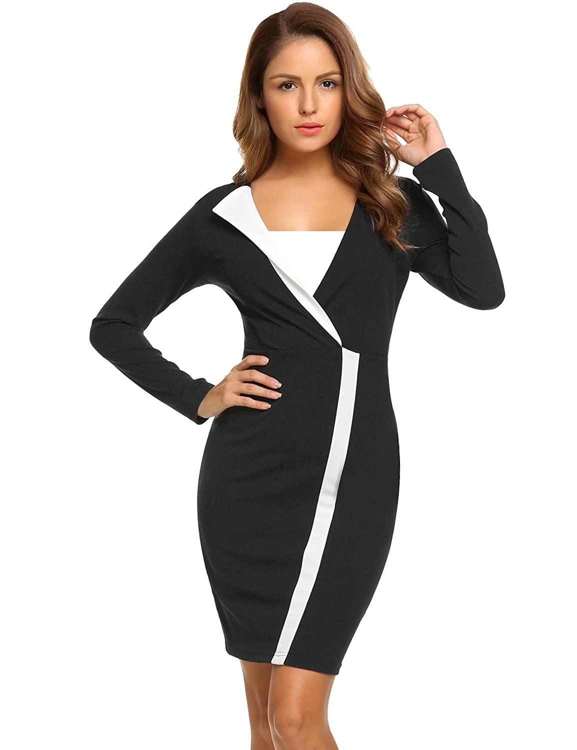 0d87d34b5bf87 The dress is made of a soft elastic fabric. The design of front V-neck  shows great slim fit and good temperament. With your high heels on
