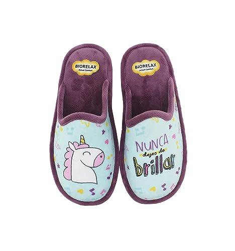 Biorelax by Zapattu - Zapatillas de Casa Mujer Unicornio Nunca Dejes de Brillar: Amazon.es: Zapatos y complementos