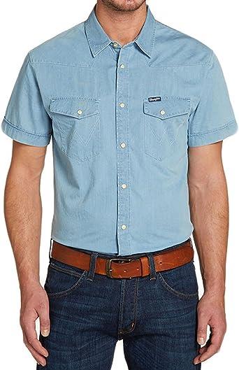 Camisa de manga corta S/S Western Azul WRANGLER S Hombre: Amazon.es: Ropa y accesorios
